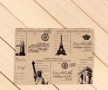 10pcs/Lot 152*107mm Vintage Style Eiffel Towel Envelop Europea Retro Leather Decration Paper Card Tower Freedom