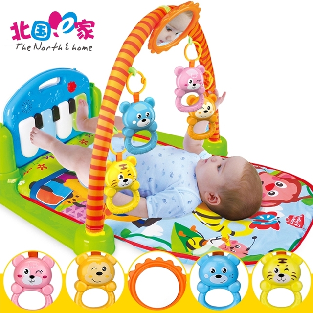 Baby Pedal Piano Bodybuilding Frame Musical Crib Mobile Bed Bell