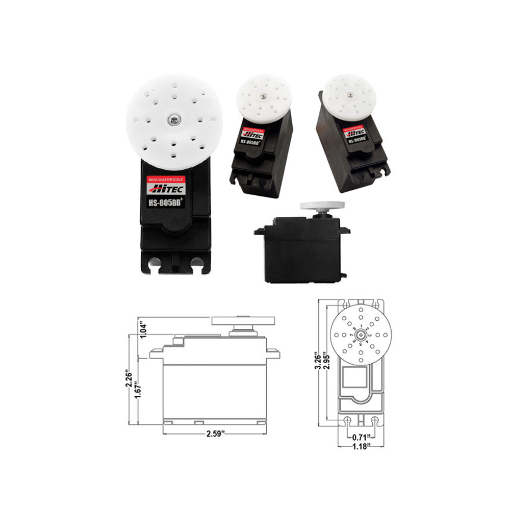 все цены на 100% Original Hitec HS-805BB+ 152g / 24.7 kg / .14 sec major high torque Analog servo онлайн