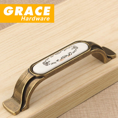 Античная бронза Мебель ручки новый трещины Керамика сад ящика шкафа Handle (C. c: 96 мм l: 122 мм)