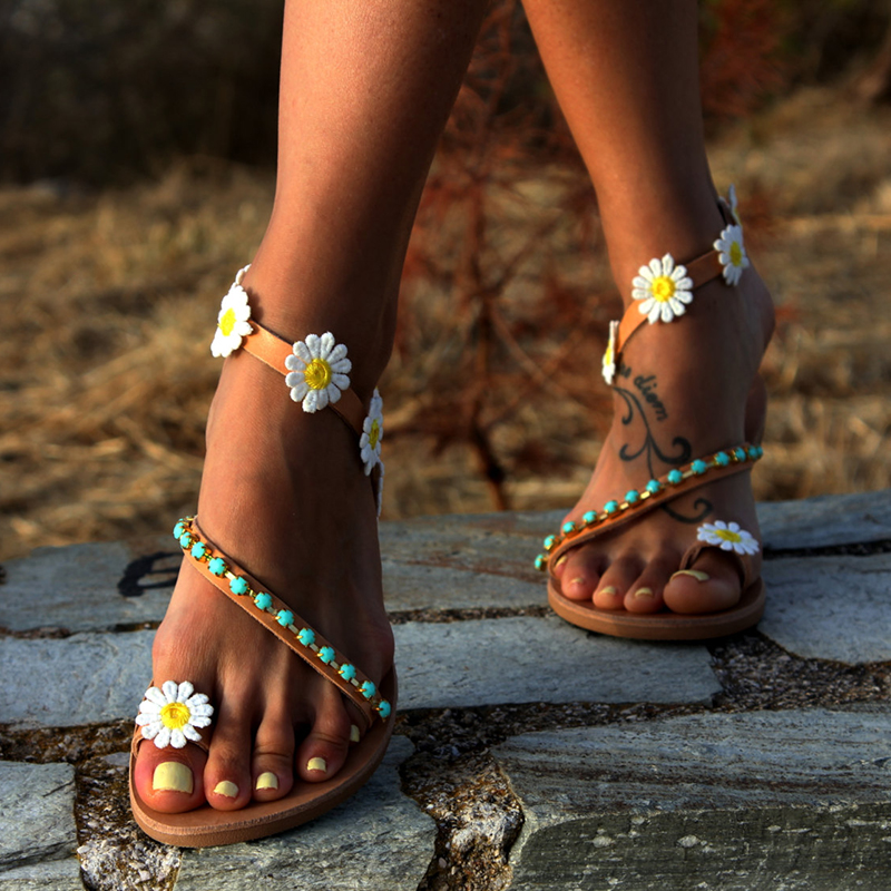 COSIDRAM Summer Women Shoes Flat Heels Sandals Fashion Female Comfortable Sweet Flowers Beach Sandals Plus Size 42 43 SNC-028