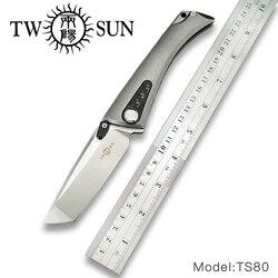 TwoSun d2 blade folding Pocket Knife tactical knives hunting knife survival tool TC4 Titanium Carbon Fiber Fast Open Jaeger TS80