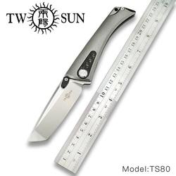 TwoSun d2 blade folding Zakmes tactische messen jachtmes survival tool TC4 Titanium Carbon Fiber Fast Open Jaeger TS80