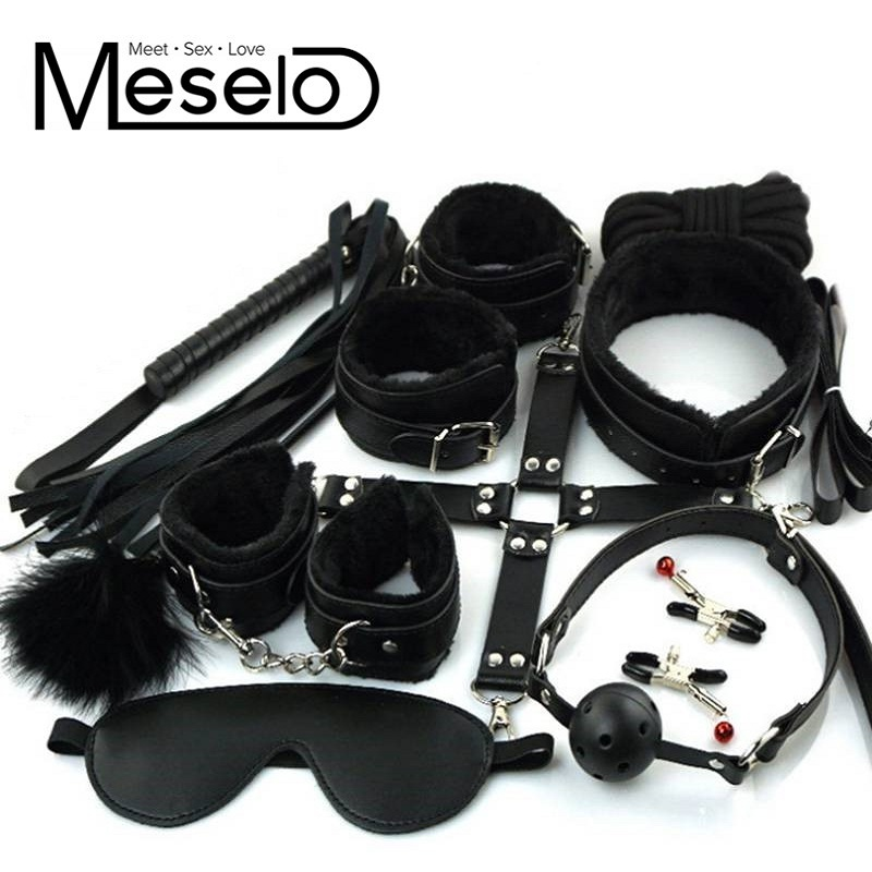 10 pcs/ lot PU Leather Bondage Set EroticToys for Couples Sexy Handcuffs Nipple Clamps Footcuffs Mouth Gag Whip Eye Mask