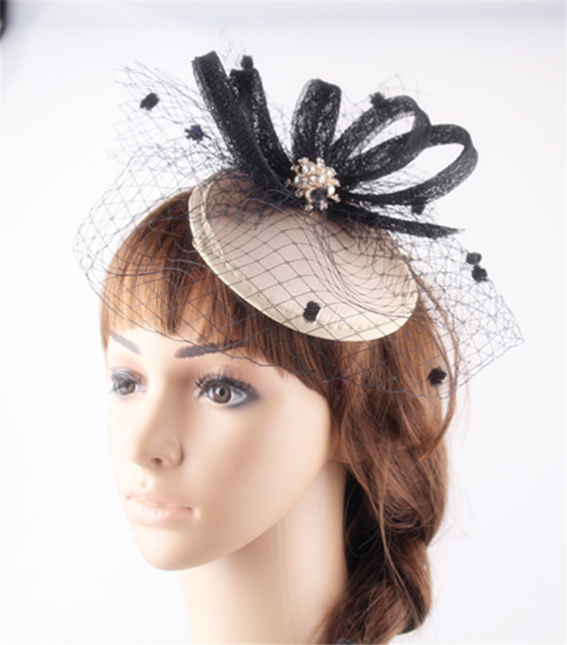 d961ff07817 Elegant sinamay fascinator satin base with sinamay trim birdcage veils with  brooch wedding party occassion hats bridal headwear