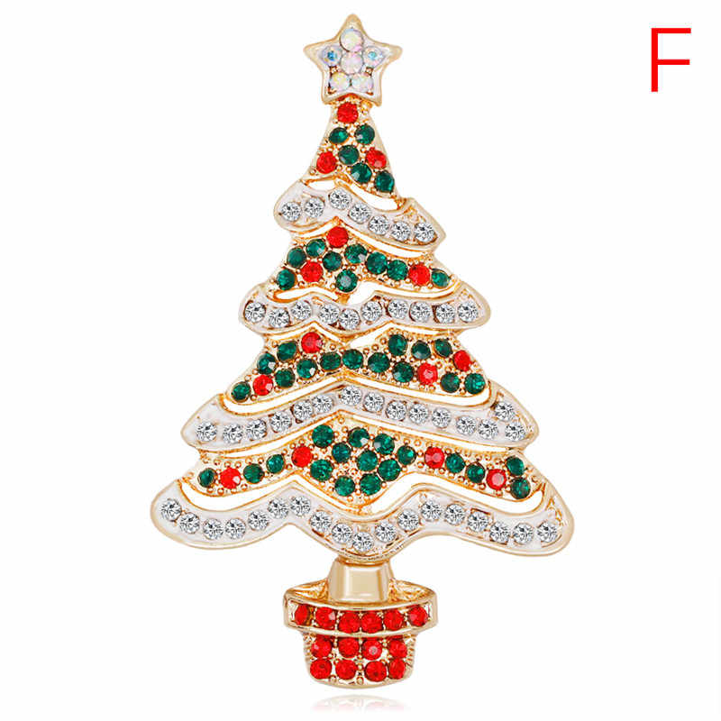 Kawaii Christmas  Crystal Pin For Women Party Jewelry Christmas Gift Enamel Brooch Tree Nice Red Shoe Boot Bell Deer Snowman