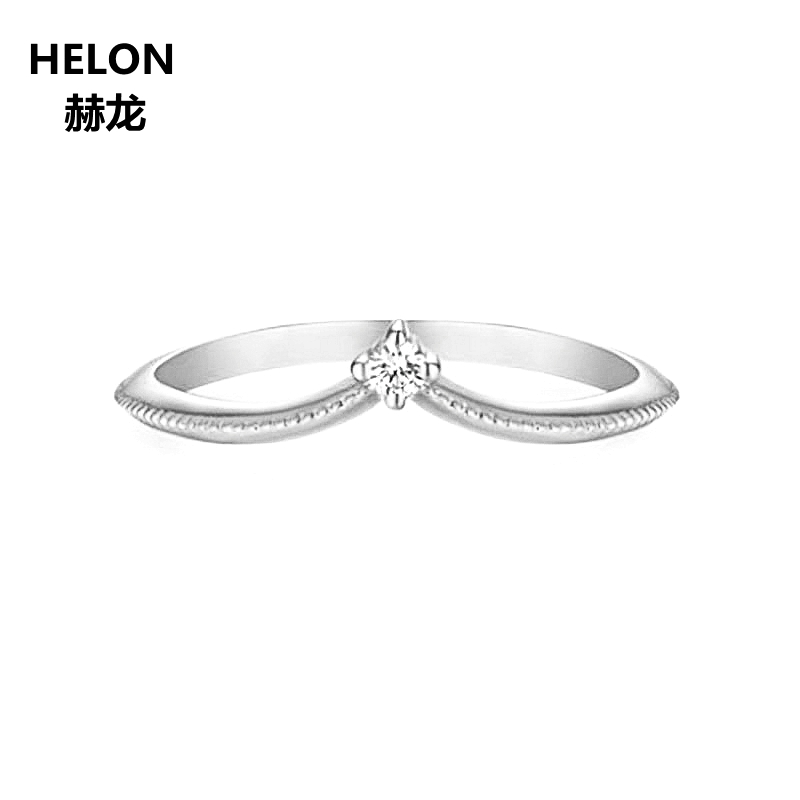 Solid 14k White Gold Engagement Ring for Women 100% SI/H Natural Diamonds Wedding Band Millgrain V Shape Trendy Jewelry trendy christmas style elk shape cuff ring for women