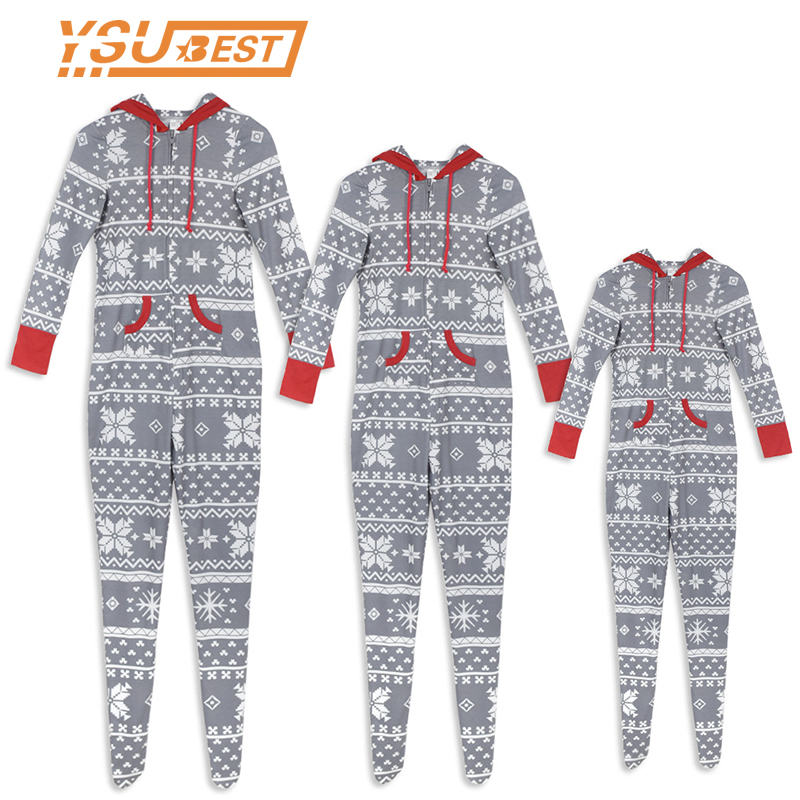 Family Matching Christmas Pajamas Romper Jumpsuit Women Men Baby Kids Snowflake Xmas Sleepwear Nightwear Hooded Zipper Outfits