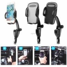 3 ב 1 רכב מחזיק טלפון מצית מטען USB הכפול טעינת מתכוונן 180 תואר סיבוב זווית MP5 GPS ערש whosale