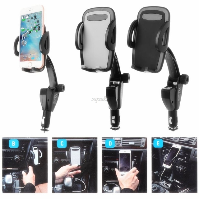 3 in 1 Car Holder Cigarette Lighter Phone Charger Dual USB Charging Adjustable 180 Degree Rotation Angle MP5 GPS Cradle Whosale