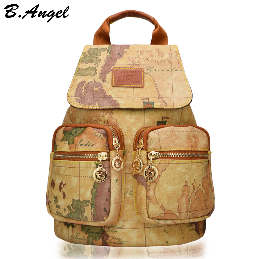 High quality world map school backpack big travel leather backpack high capacity printing backpack стиральная машина bomann wa 5716