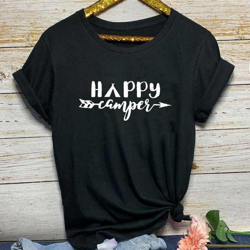 Счастливый Турист с буквенным принтом, графическая футболка, летняя повседневная футболка унисекс для кемпинга, подарок на день отца