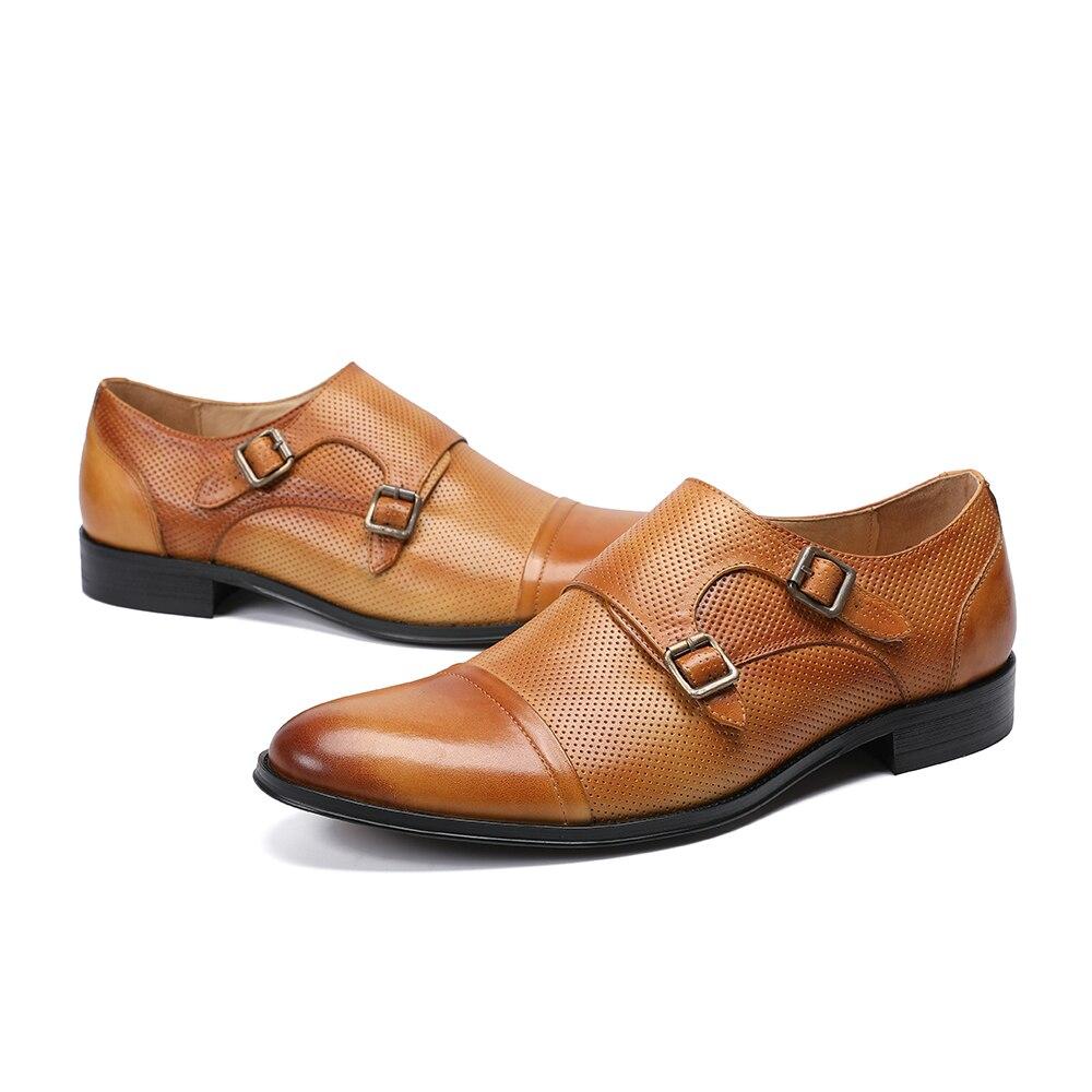 Marron En Bella Oxford kaki D'affaires Britannique Christia Hommes Véritable Moine Style Taille Cuir Sangle Double Boucle Plus La Chaussures EIeYDH29W