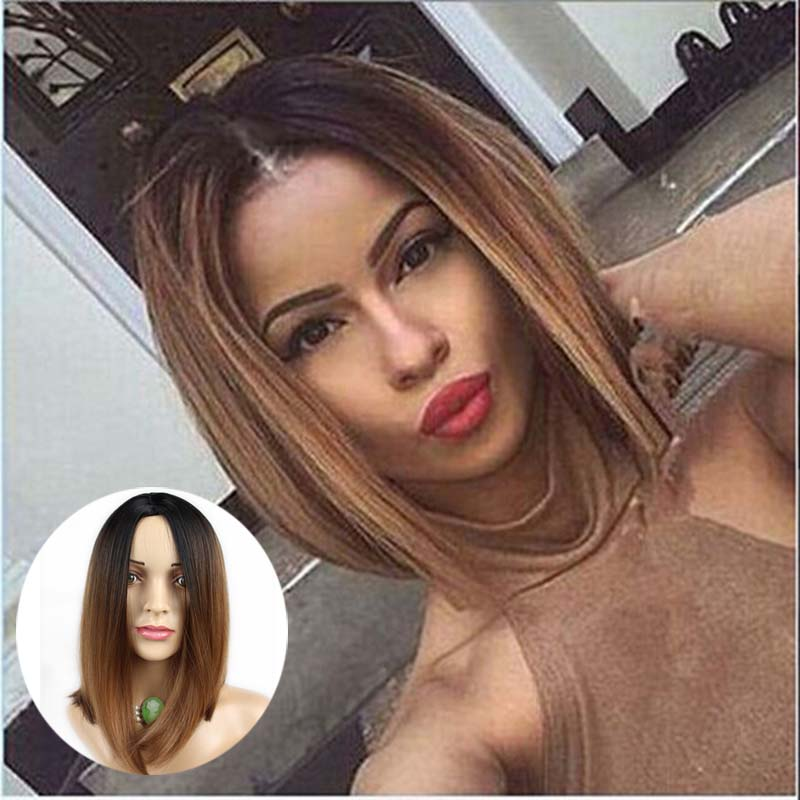 Two Tones Ombre Wig Medium Long Straight Synthetic Hair wigs haircut Nice natural looking women cosplay