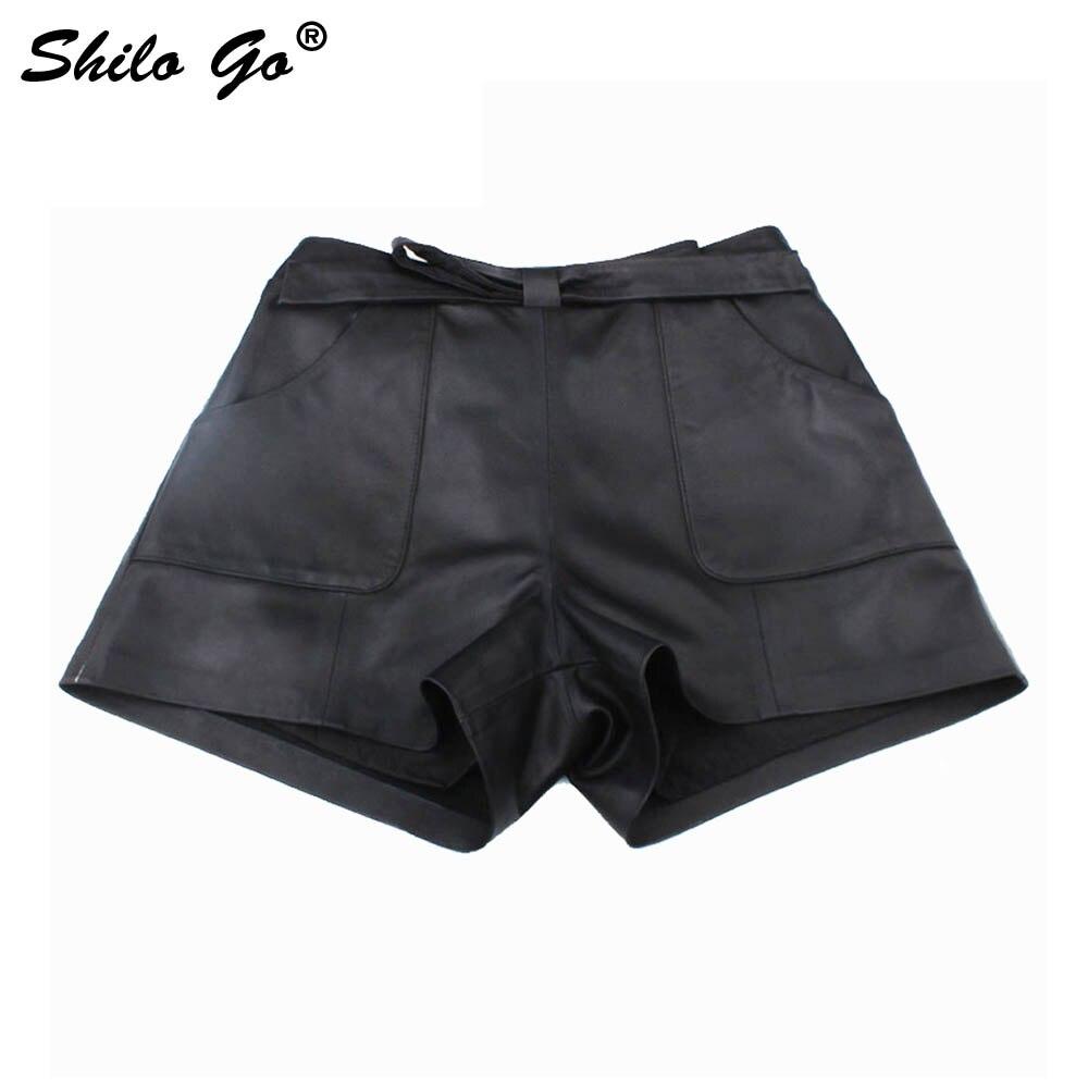 Leather Shorts Womens Autumn Fashion Sheepskin Genuine Leather Shorts Bow Belt Waist Concise Loose Black Shorts