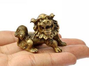 Lucky Chinese Fengshui Pure Brass Guardian Foo Fu Dog Lion Statue Pair free ship metal handicraft