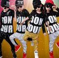 Nova Moda Da Menina do Menino Desgaste da Dança Hip Hop Jazz Hip-Hop Mordern Top & Calças Harém Conjunto de Roupas Crianças Criança Dança Hip Hop trajes