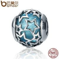 BAMOER Popular 925 Sterling Silver Shimmering Star Openwork Blue Crystal Beads Fit Women Bracelets Bangles Jewelry
