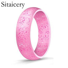 Sitaicery Sale 4 5 6 7 8 9 10 Size 5.7mm Crystal powder Silicone Female Ring For Women Girls Office Men Finger Jewelry Colors