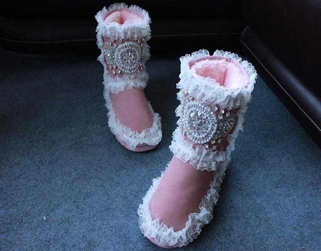 Chaussures Cheville Conception Neige Bottes Femmes Couleurs Shown 16 D'hiver Rose Dentelle Pour As Strass as Femme Shown Botte Chaud qwBx0C7