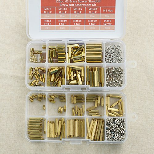 380pc M3 and <font><b>M2</b></font> <font><b>Brass</b></font> Spacer <font><b>Standoff</b></font> Screw Nut Assortment Kit image