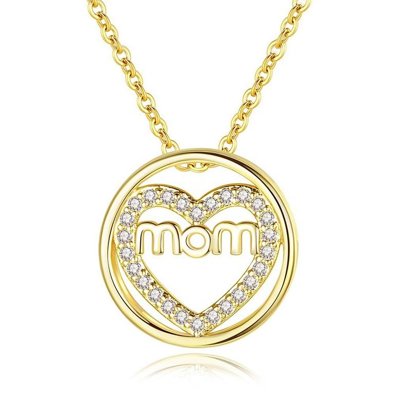 3370bb5b2e99 Mon amor corazón con incrustaciones de 3A CZ Zirconia colgante de plata  collares de cadena de oro collares gargantilla de Día de la Madre Regalos  para las ...