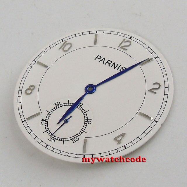 38.9mm parnis white dial blue hands fit eta 6498 seagull 3620 movement Watch dial (Dial+hands) D114
