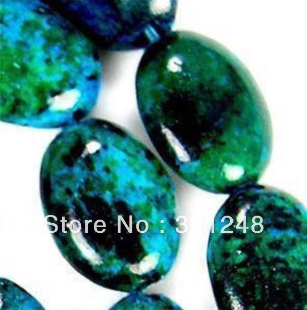 39e88b06c1c1 Joyería de moda 10x14mm Azurita Crisocola Oval Granos Flojos de piedra  nuevas mujeres de la manera diy de la joyería 15 inch FR05 - Blog Store