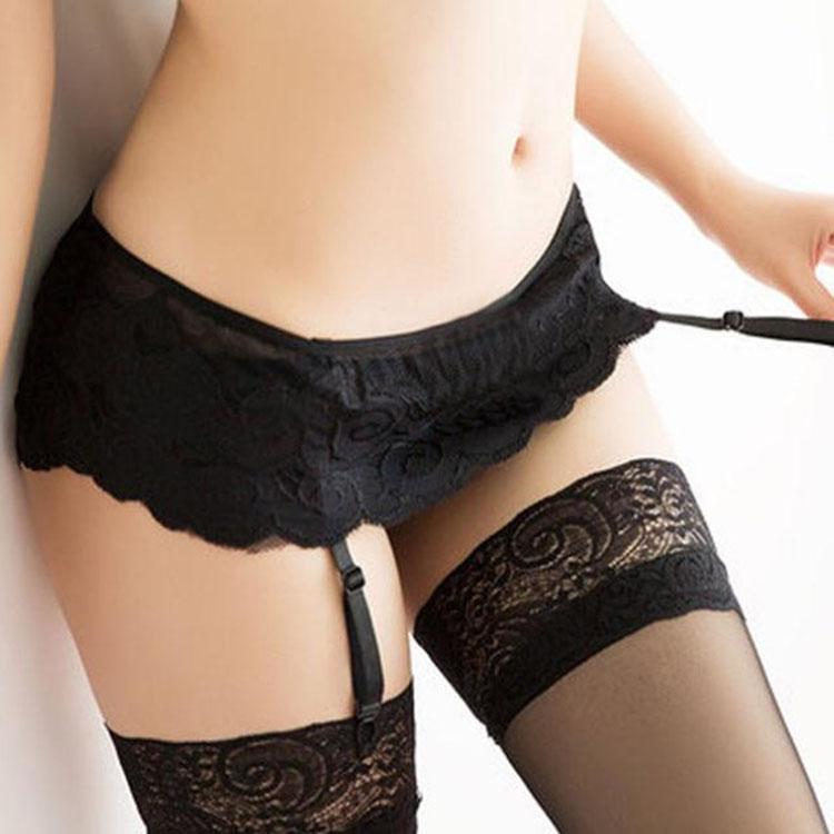 New Womens Sexy Fashion Black Lace Top Thigh Highs Stockings Garter Belt Crotchless Panties Lace Miniskirt Sexy Lingerie