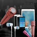 3.5mm Mini Home KTV Singing Karaoke Microphone Mikrafone mikrofon w/ Earphone For Mobile Phone