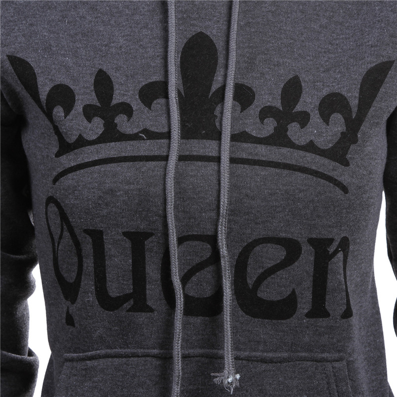 Valentines Day KING Queen Hooded Pullovers Hoodie Couple Long Sleeve Winter Women Men Slim Sweatshirt for Couple Lovers