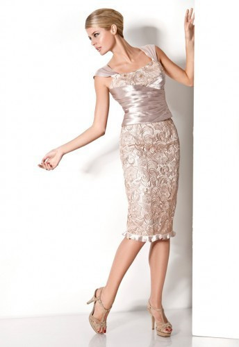 magnífico de la madre de novia vestidos encaje satinado vestido