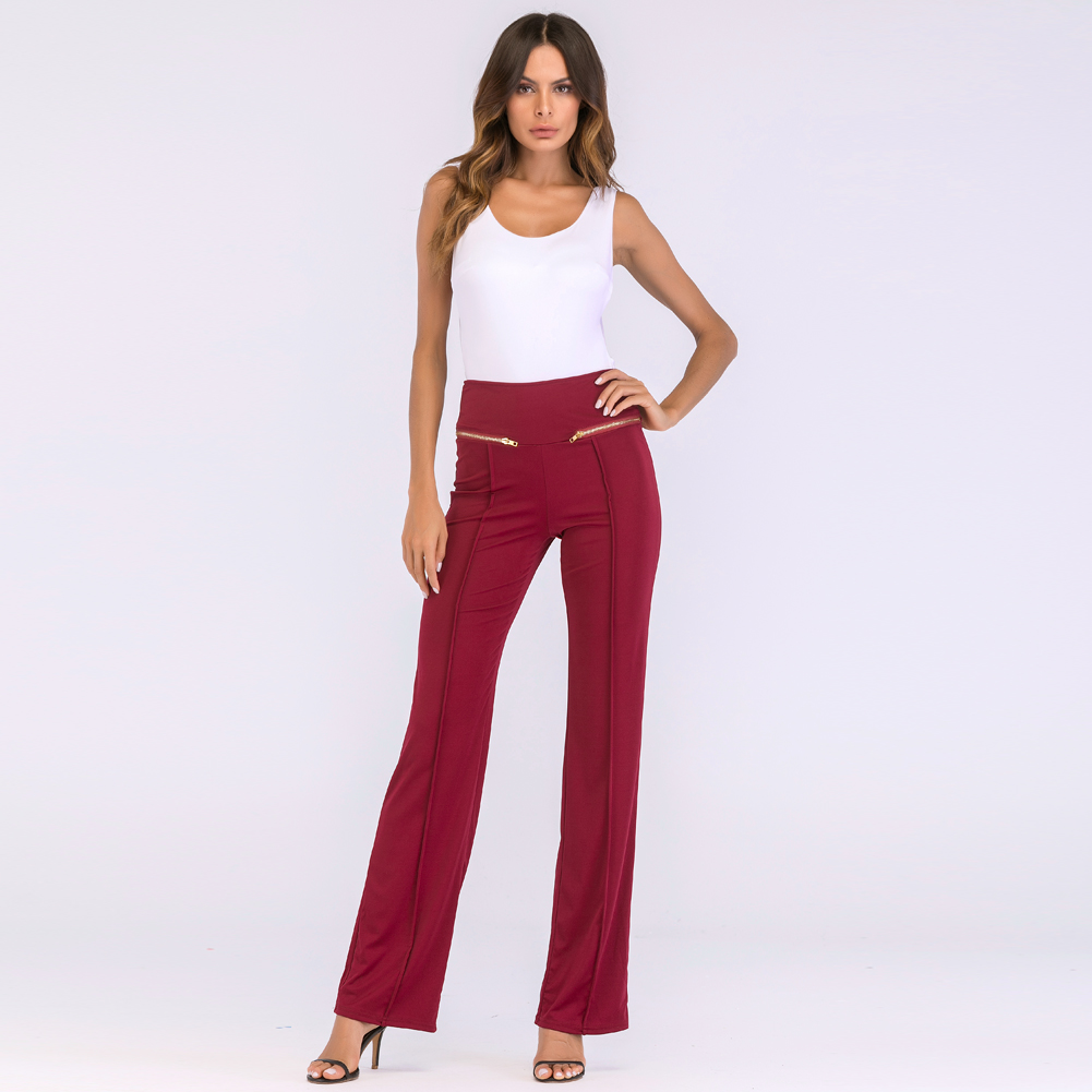 Autumn Women   Wide     Leg     Pants   Casual Long   Pants   Straight   Leg     Pants   High Waist Zipper Solid OL Work Wear Trousers Sweatpants female