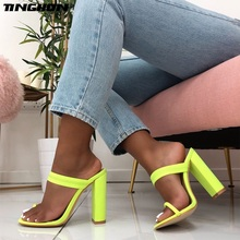 TINGHON New Summer Sandals Slippers Stretch Fabric Thin High Heels Flip Flop Buckle Hollow Women Shoes Sexy Pumps