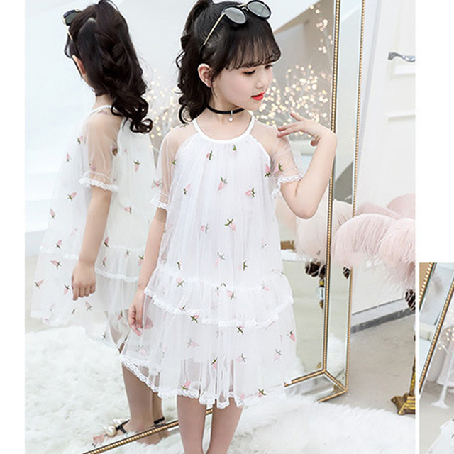 Party Dresses For Girls Floral Embroidery Summer Dress Kids Cute Girls Princess Dress Kids Big Girls Clothes 2019 New Summer