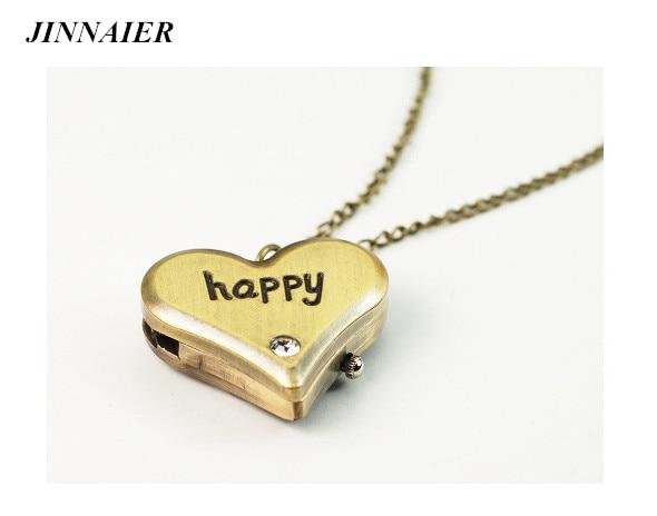 10pcs/lot Wholesales Hot Sales Fashion Retro Happy Love Pocket Watch Ladies Long Necklace Couple Birthday Present Watch