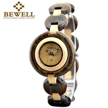 BEWELL Wood Watch Women Luxury Small Wooden Dial Watch for Girl Quartz Movement Dress Women's Watches Paper Box 010A