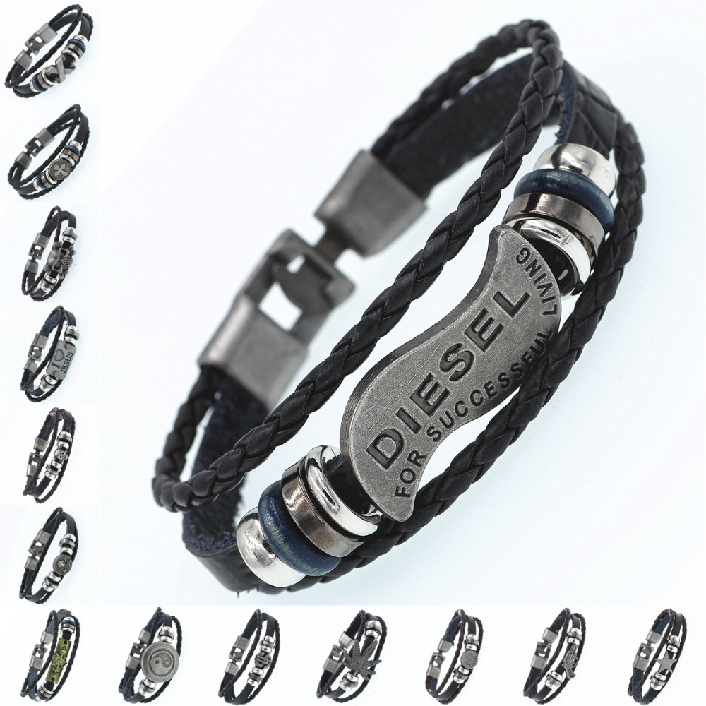 2019 Multilayer Bracelet Men Casual Fashion Braided Leather Bracelets For Women Wood Bead Bracelet Punk Rock Men Jewelry bracelet