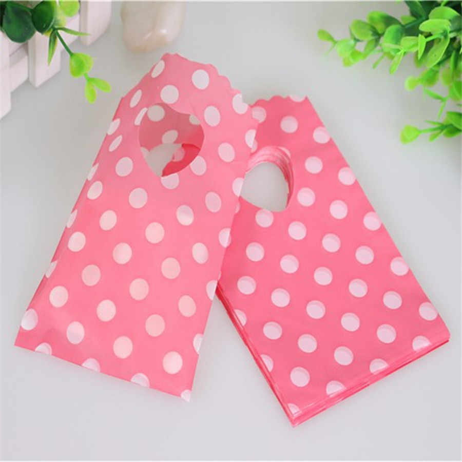 New Design Hot Sale Wholesale 50pcs/lot 9*15cm Pink Mini Plastic Jewelry Accessory Pouches With Dot Small Gift Packaging Bags