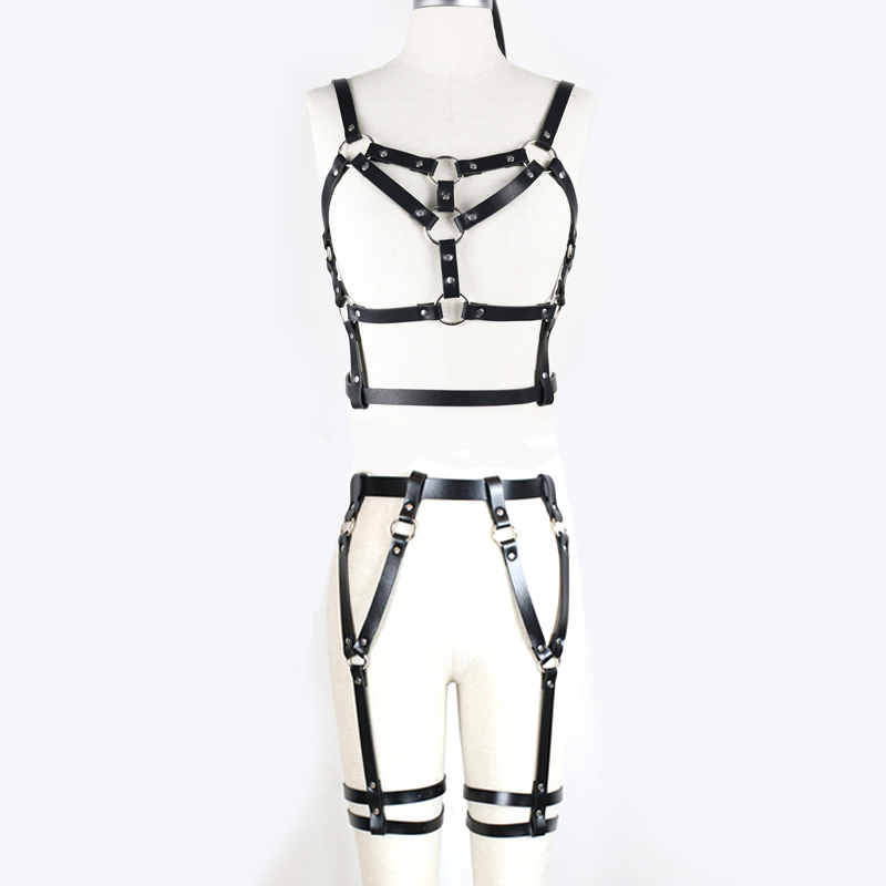 BDSM Bondage Rope Leather Harness Toys For Women Adult Game Outfit Bra And Leg Suspenders Straps Garter Belt Sex Accessories Set 2