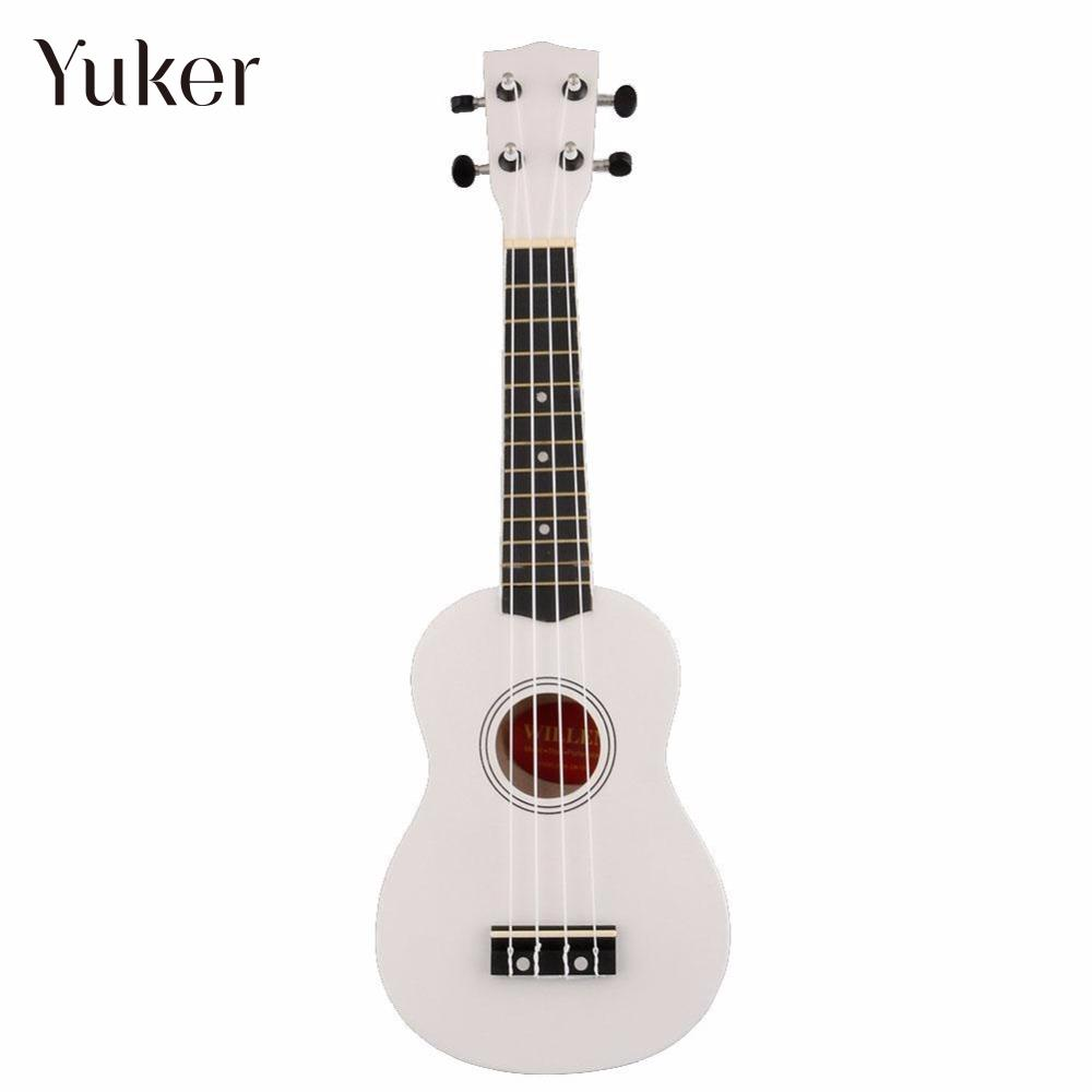 Yuker 21 Inch Uke Ukulele Ukelele Mahalo White 4 String Art Gifts Soprano Music Guitar Instrument for beginners Guitarist