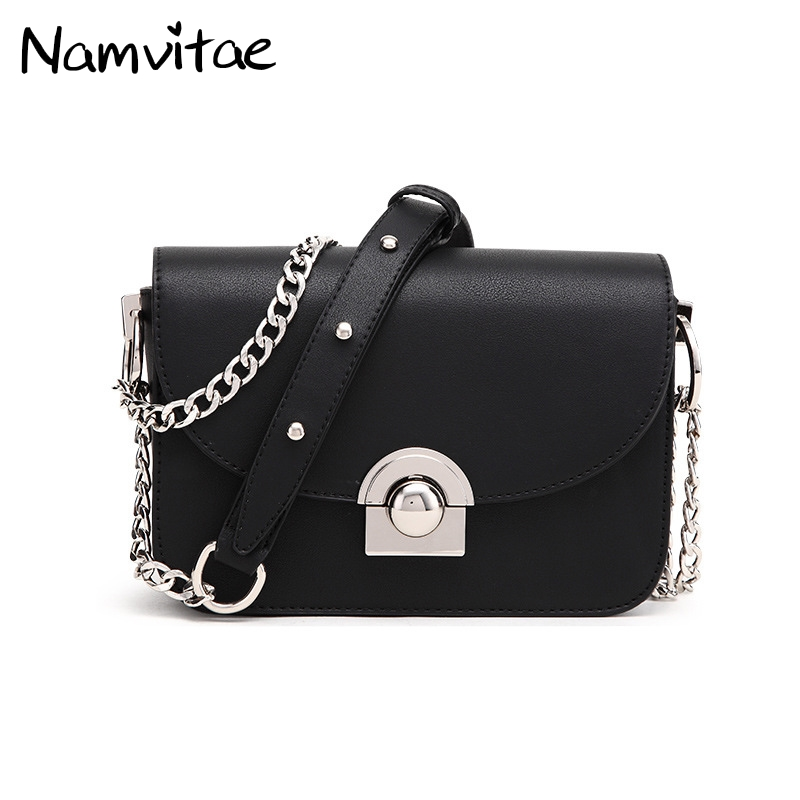 Namvitae Women Classic Crossbody Bag Ladies Lock Shoulder Purse Bag Mental Chain Strap Single Flap Women Leather Satchel Handbag fashion new design pu leather lotus wave female chain purse shoulder bag handbag ladies crossbody messenger bag women s flap