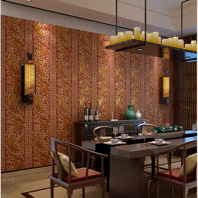 Kualitas Tinggi Modern Ruang Tamu Mewah Wallpaper Tahan Air Cina Merah Untuk Dinding Mural R Tidur Gulungan Kertas Di