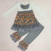 Latest Design Fall Girls Boutique Outfits Polka Dot Print Ruffle Dress With Button Striped Cotton Pant