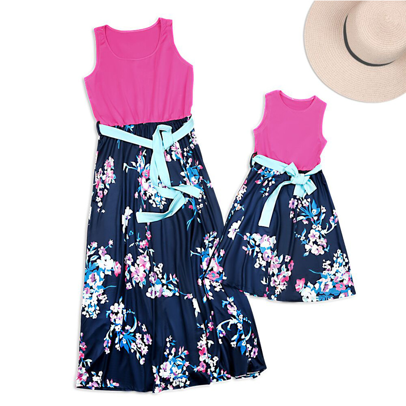 HTB13UtVadfvK1RjSszhq6AcGFXa1 - NASHAKAITE Mother daughter dresses Floral Printed Long Dress Mommy and me clothes Family matching clothes Mom and daughter dress