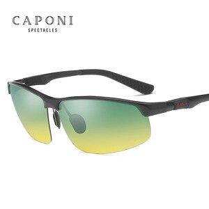 Image 5 - CAPONI Aluminum Magnesium Men Sunglasses Polarized Day And Night Glass Driving Sun Glasses Goggles Night Vision Eyewear RY3121