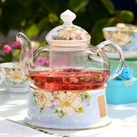 Glass tea set creative bone china flower teapot teacup heat tea filter kung fu ceramic stove Tea lid + teapot + tea stove