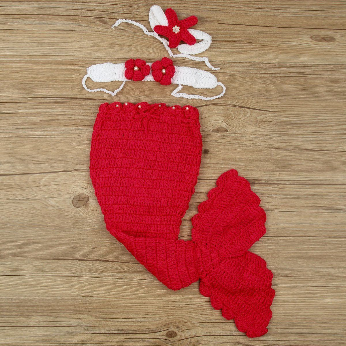 Pasgeboren Baby Mermaid Fishtail Knit Haak Slaapzak Beha Hoofdband