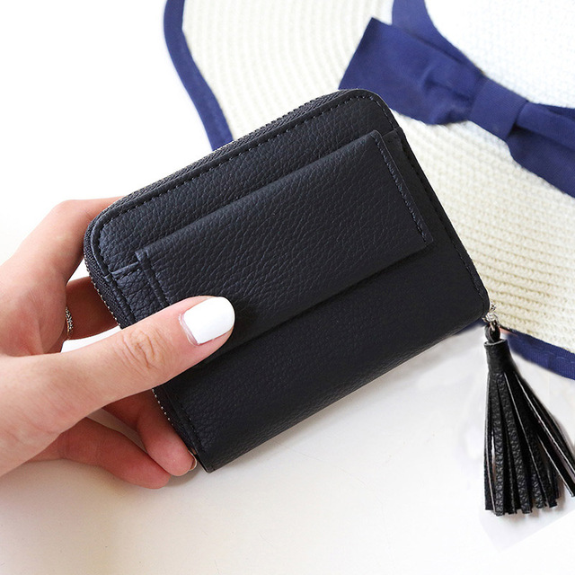 Fashion Pink Short Tassel Women's Purse Small Mini Wallet Women Credit Card Holder Coin Purse PU Leather Zipper Female Wallets