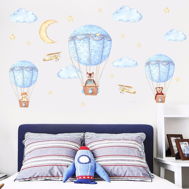 Kids Bedroom Cute Wall Stickers Hot Air Balloon Creative Nursery Wall Decals  Home Decor School Children Stikers